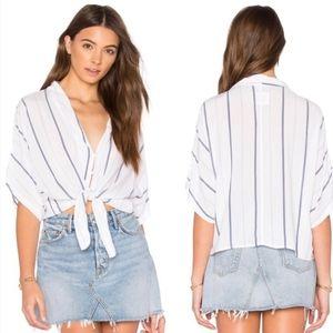 Rails Thea White Indigo stripe tie front blouse